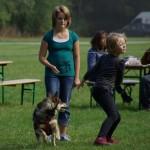 Der demonstreres sjov og leg med hunden